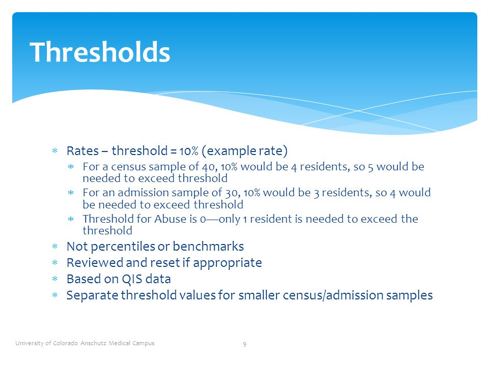  Rates – threshold = 10% (example rate)  For a census sample of 40, 10% would be 4 residents, so 5 would be needed to exceed threshold  For an admi