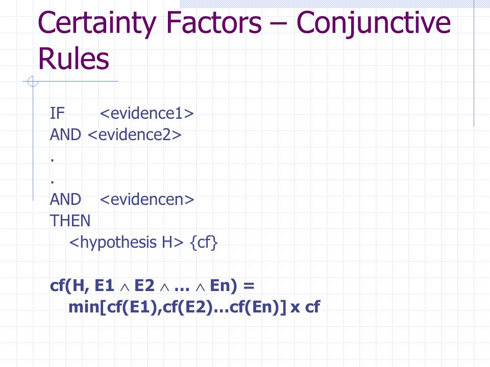 Certainty Factors – Conjunctive Rules IF AND.. THEN {cf} cf(H, E1  E2  …  En) = min[cf(E1),cf(E2)…cf(En)] x cf