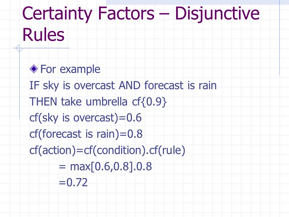 Certainty Factors – Disjunctive Rules For example IF sky is overcast AND forecast is rain THEN take umbrella cf{0.9} cf(sky is overcast)=0.6 cf(foreca