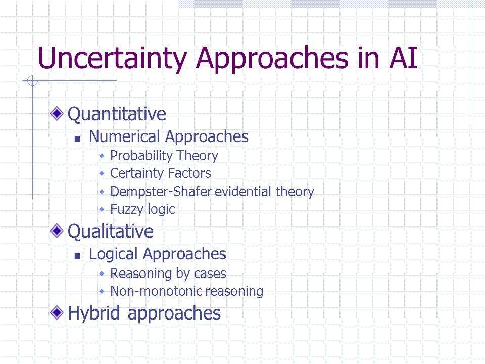 Uncertainty Approaches in AI Quantitative Numerical Approaches  Probability Theory  Certainty Factors  Dempster-Shafer evidential theory  Fuzzy lo