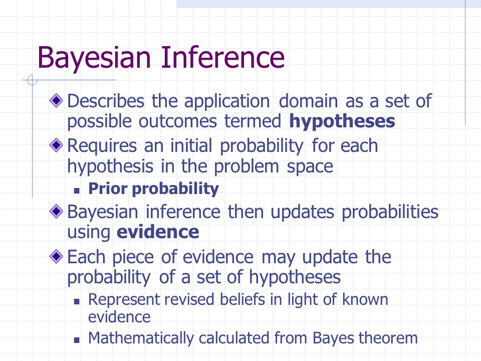 Bayesian Inference Describes the application domain as a set of possible outcomes termed hypotheses Requires an initial probability for each hypothesi