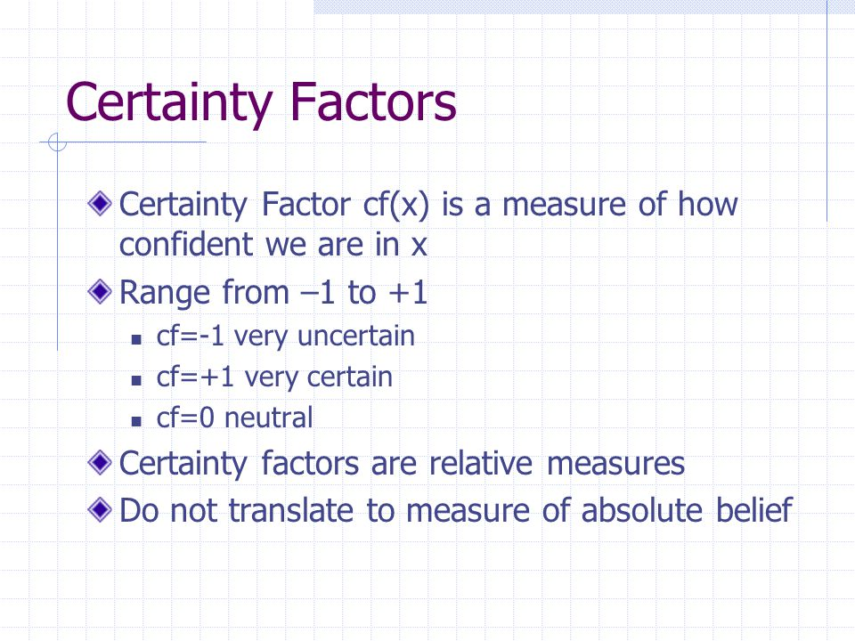 Total Strength of Belief Certainty factors combin belief and disbelief into a single number based on some evidence MB(H,E) MD(H,E) Strength of belief or disbelief in H depends on the kind of evidence E observed cf= MB(H,E) – MD(H,E) 1 – min[MB(H,E), MD(H,E)]