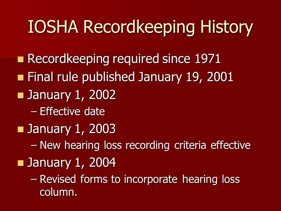 IOSHA Recordkeeping History Recordkeeping required since 1971 Recordkeeping required since 1971 Final rule published January 19, 2001 Final rule publi