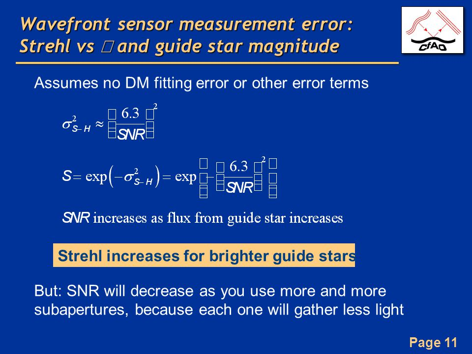 Page 11 Wavefront sensor measurement error: Strehl vs  and guide star magnitude Assumes no DM fitting error or other error terms But: SNR will decrease as you use more and more subapertures, because each one will gather less light Strehl increases for brighter guide stars