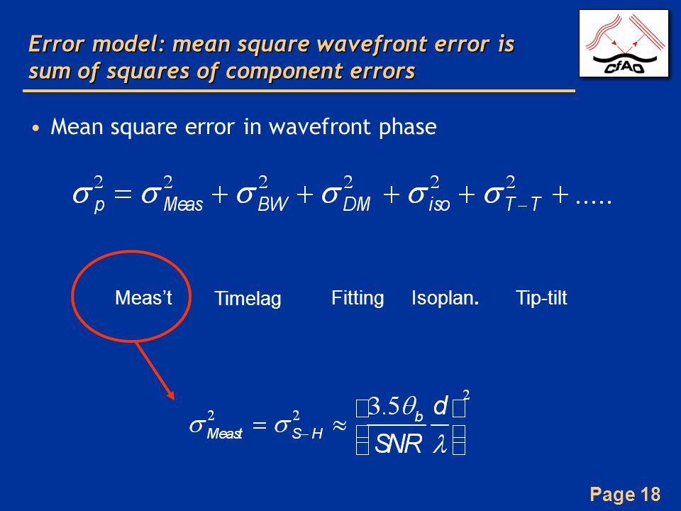 Page 18 Error model: mean square wavefront error is sum of squares of component errors Mean square error in wavefront phase Meas't Timelag FittingIsoplan.Tip-tilt