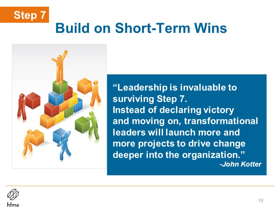Build on Short-Term Wins Leadership is invaluable to surviving Step 7.