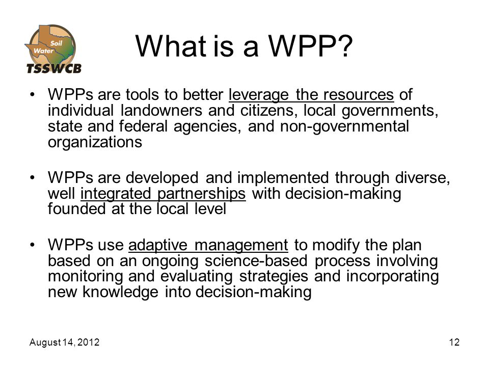 August 14, 201212 What is a WPP.