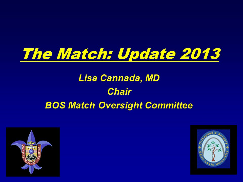 The Match: Update 2013 Lisa Cannada, MD Chair BOS Match Oversight Committee