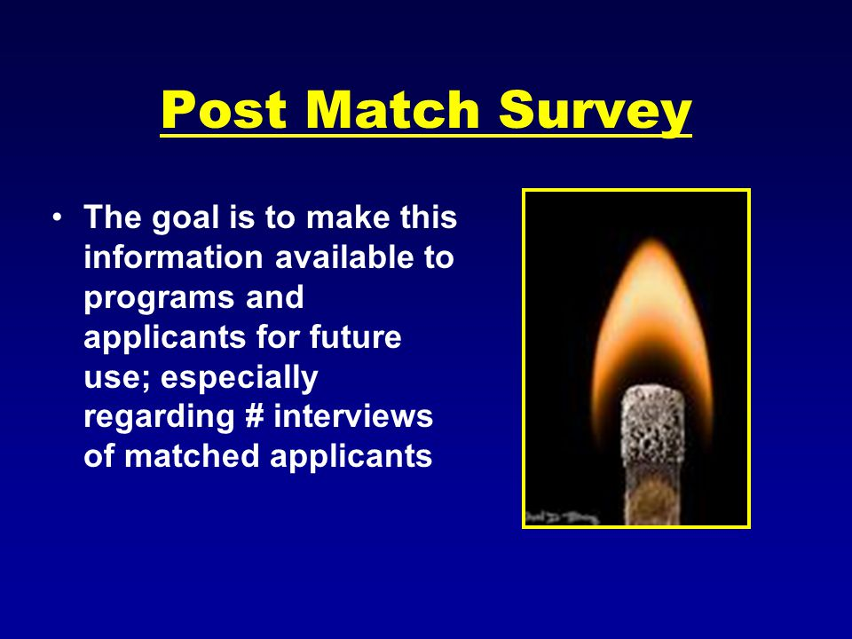 Post Match Survey The goal is to make this information available to programs and applicants for future use; especially regarding # interviews of matched applicants