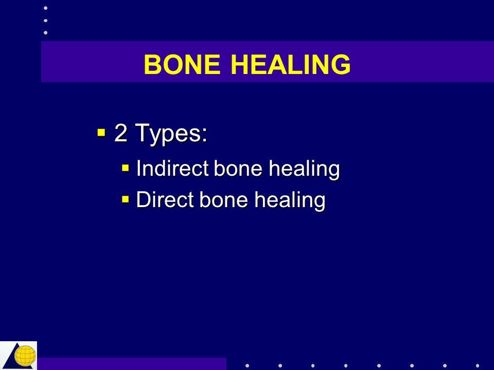 BONE HEALING  2 Types:  Indirect bone healing  Direct bone healing
