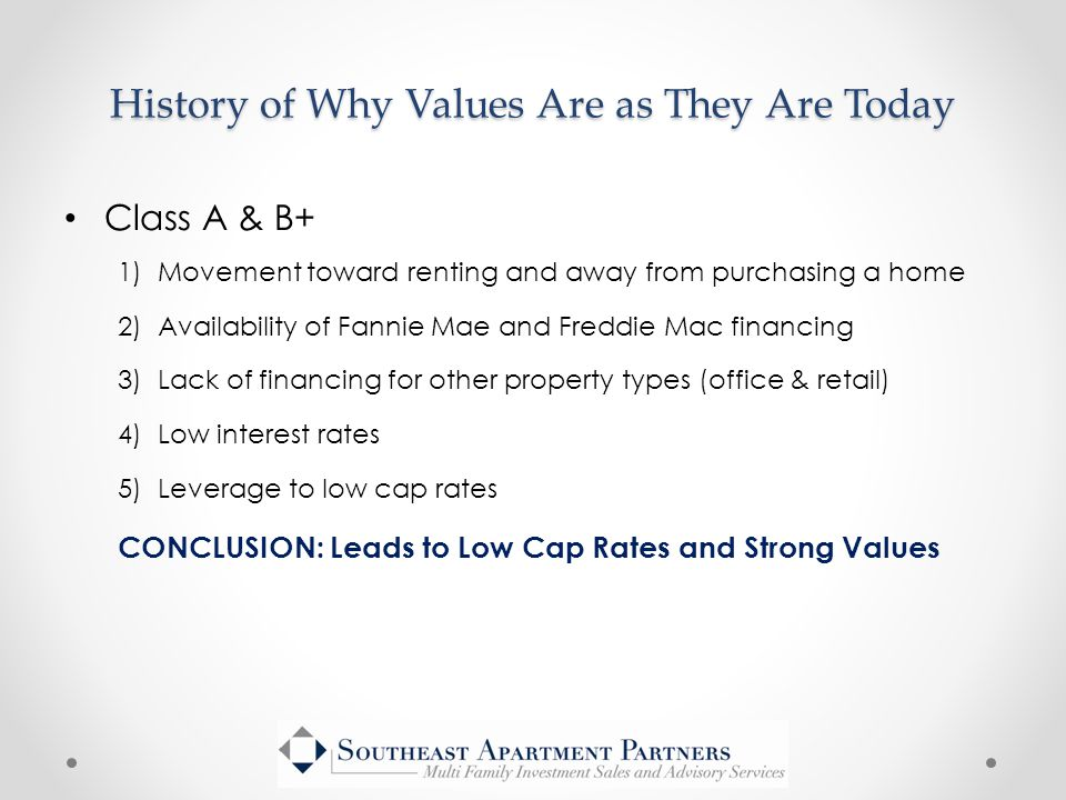 Class A & B+ 1)Movement toward renting and away from purchasing a home 2)Availability of Fannie Mae and Freddie Mac financing 3)Lack of financing for other property types (office & retail) 4)Low interest rates 5)Leverage to low cap rates CONCLUSION: Leads to Low Cap Rates and Strong Values History of Why Values Are as They Are Today