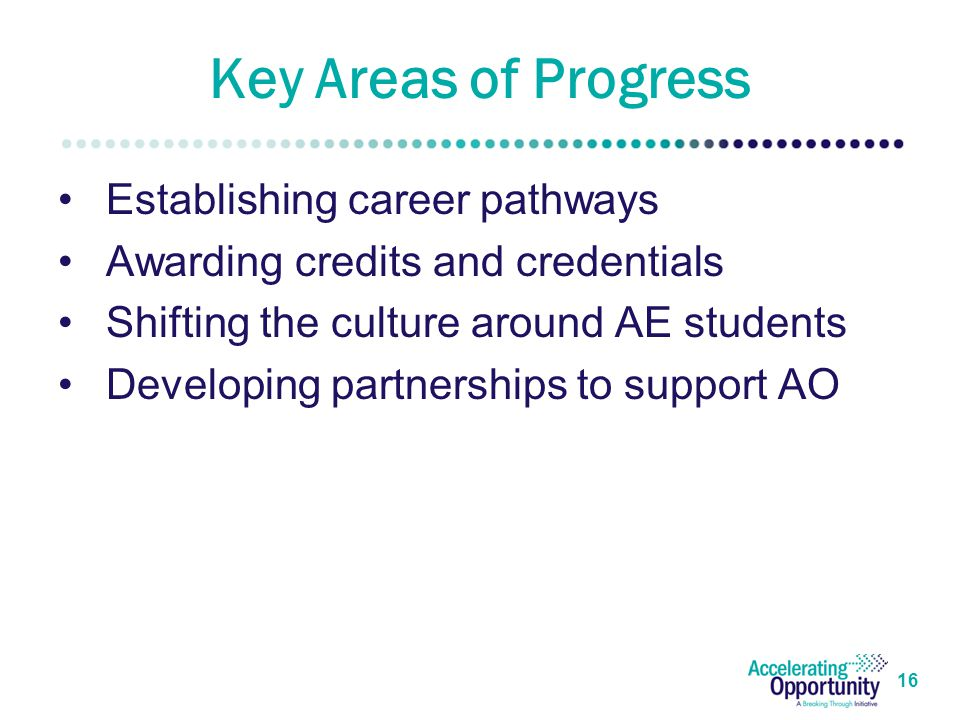 Key Areas of Progress Establishing career pathways Awarding credits and credentials Shifting the culture around AE students Developing partnerships to support AO 16