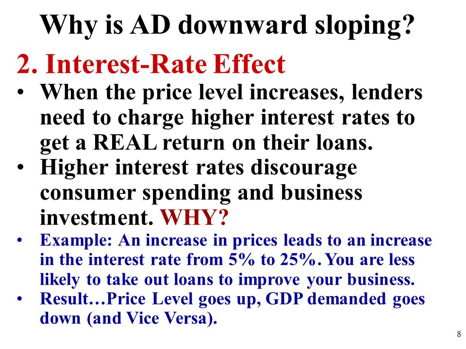 2. Interest-Rate Effect When the price level increases, lenders need to charge higher interest rates to get a REAL return on their loans. Higher inter