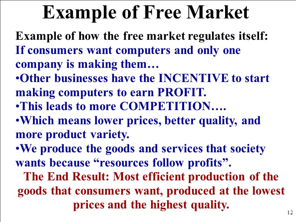 Example of Free Market Example of how the free market regulates itself: If consumers want computers and only one company is making them… Other busines