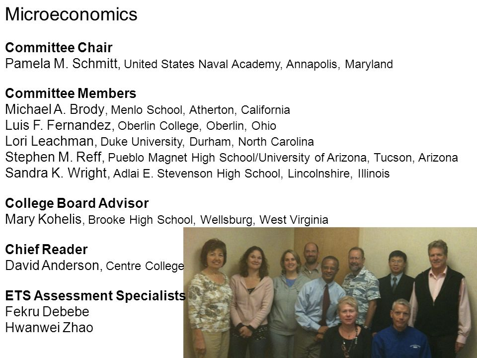 Microeconomics Committee Chair Pamela M. Schmitt, United States Naval Academy, Annapolis, Maryland Committee Members Michael A. Brody, Menlo School, A