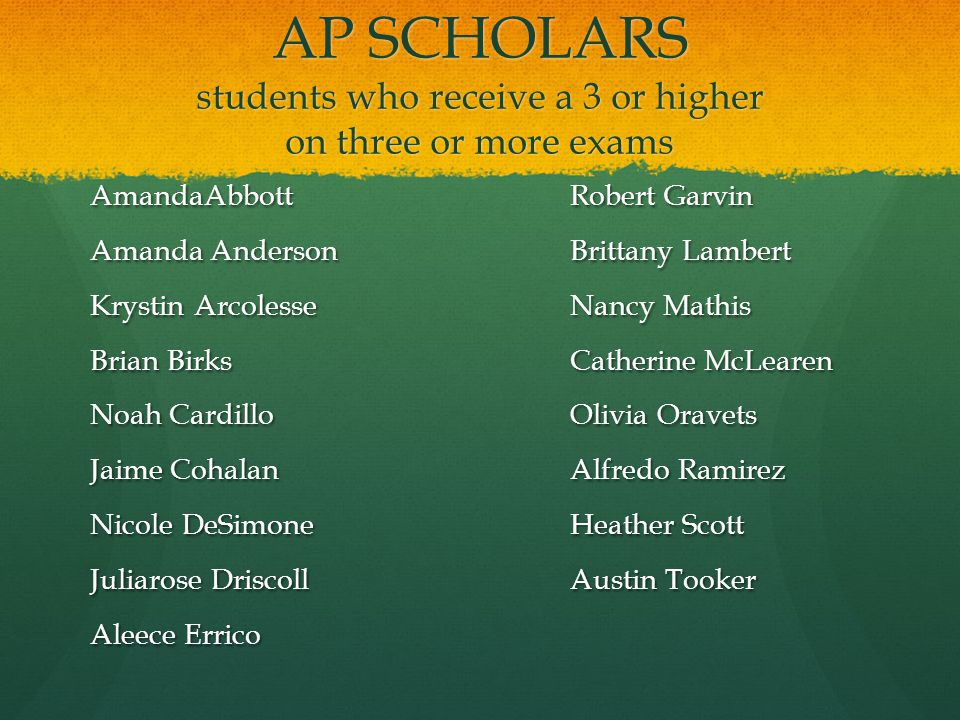 AP SCHOLARS students who receive a 3 or higher on three or more exams AmandaAbbottRobert Garvin Amanda AndersonBrittany Lambert Krystin ArcolesseNancy