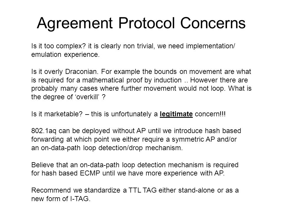 Agreement Protocol Concerns Is it too complex.