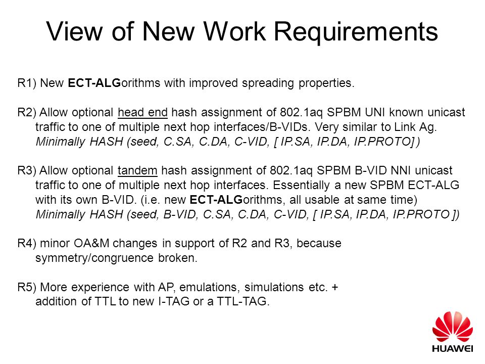 View of New Work Requirements R1) New ECT-ALGorithms with improved spreading properties.