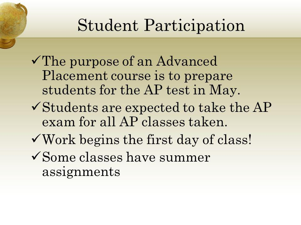Student Participation The purpose of an Advanced Placement course is to prepare students for the AP test in May.