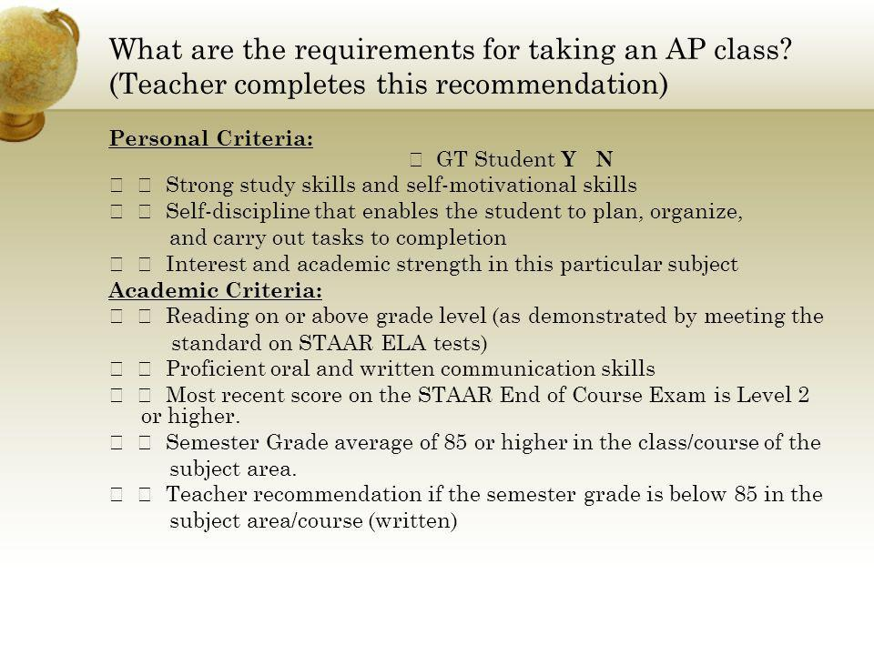 What are the requirements for taking an AP class.