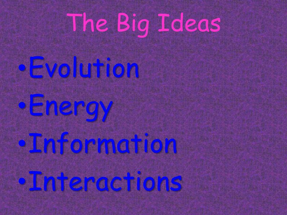 The Big Ideas Evolution Evolution Energy Energy Information Information Interactions Interactions