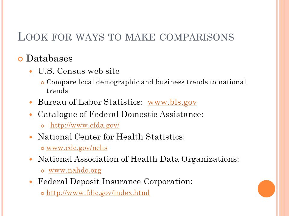L OOK FOR WAYS TO MAKE COMPARISONS Databases U.S.
