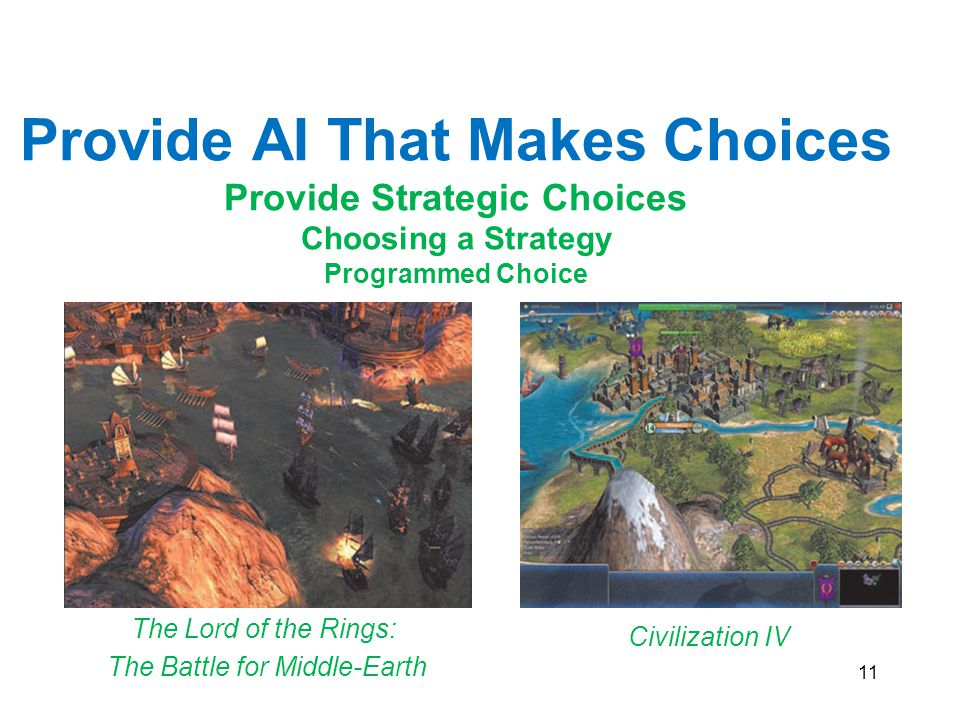 11 Civilization IV The Lord of the Rings: The Battle for Middle-Earth Provide AI That Makes Choices Provide Strategic Choices Choosing a Strategy Prog