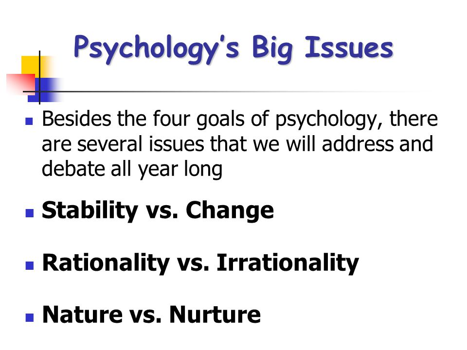 Four goals of Psychology  To predict what and when something will happen Maybe stop something bad before it happens…however… Maybe stop something bad before it happens…however… real life doesn't always cooperate with psychologyreal life doesn't always cooperate with psychology Why is this an important point to keep in mind??Why is this an important point to keep in mind?.