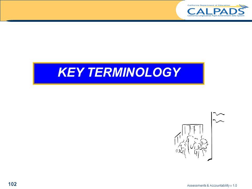 Assessments & Accountability v 1.0 102 KEY TERMINOLOGY