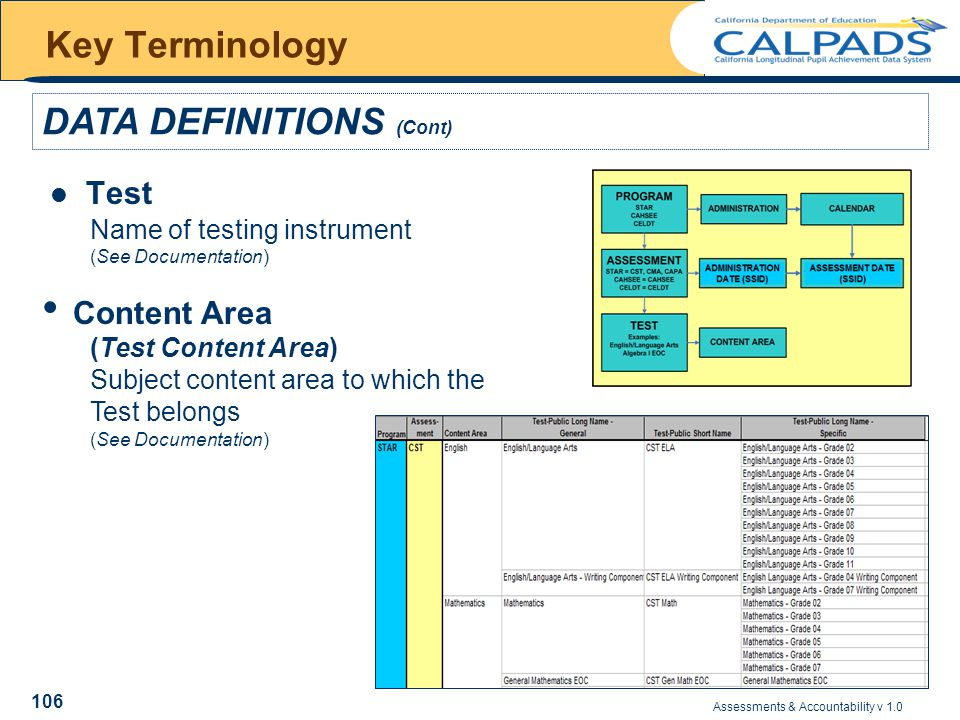 Assessments & Accountability v 1.0 106 Key Terminology DATA DEFINITIONS (Cont) Test Content Area (Test Content Area) Subject content area to which the Test belongs (See Documentation) Name of testing instrument (See Documentation)
