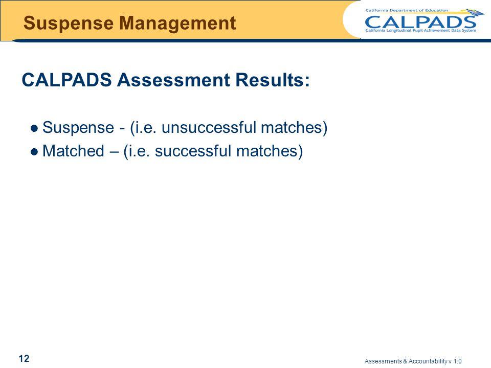 Assessments & Accountability v 1.0 12 Suspense Management Suspense - (i.e.