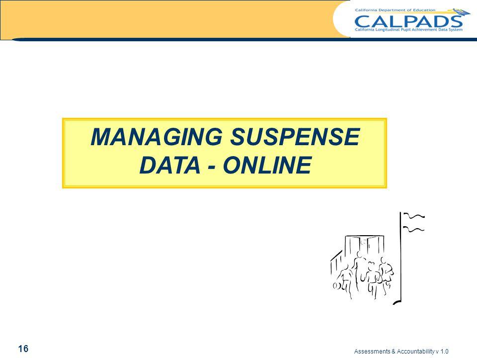 Assessments & Accountability v 1.0 16 MANAGING SUSPENSE DATA - ONLINE