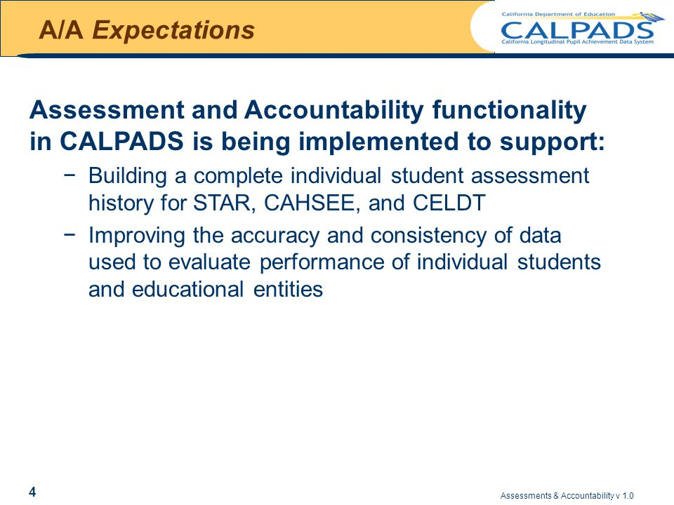 Assessments & Accountability v 1.0 65 Understanding CAHSEE Reports GENERAL CALENDAR – CAHSEE (Cont) ScheduleEventDescription August (Week 2/3) AYP/ API (P1) LOAD Concurrently with posting on Data Quest … STAR aggregate downloadable files from assessment vendor AYP/API reports and data files pre-release for LEAs AYP/API reports and data files release to the public (August 15) October (Middle) EOYIncludes: JUL, OCT, NOV, DEC, FEB, MAR, MAY Final - Cumulative for DataQuest & AYP/API OctoberAYP/ API (P2) LOAD Concurrently with posting on DataQuest … AYP/API reports and data files that incorporate P2 STAR late testing LEAs, CAHSEE data corrections, appeal and exception decisions, and CAPA reallocations related to 1% cap for LEAs (October 1) Assumption: Results data is loaded to CALPADS within 2 days of its receipt by CDE