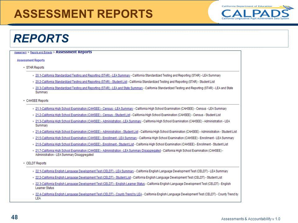 Assessments & Accountability v 1.0 48 ASSESSMENT REPORTS xxxxxxxxx REPORTS