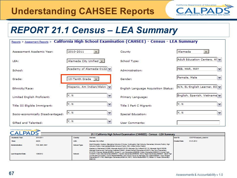 Assessments & Accountability v 1.0 67 Understanding CAHSEE Reports REPORT 21.1 Census – LEA Summary