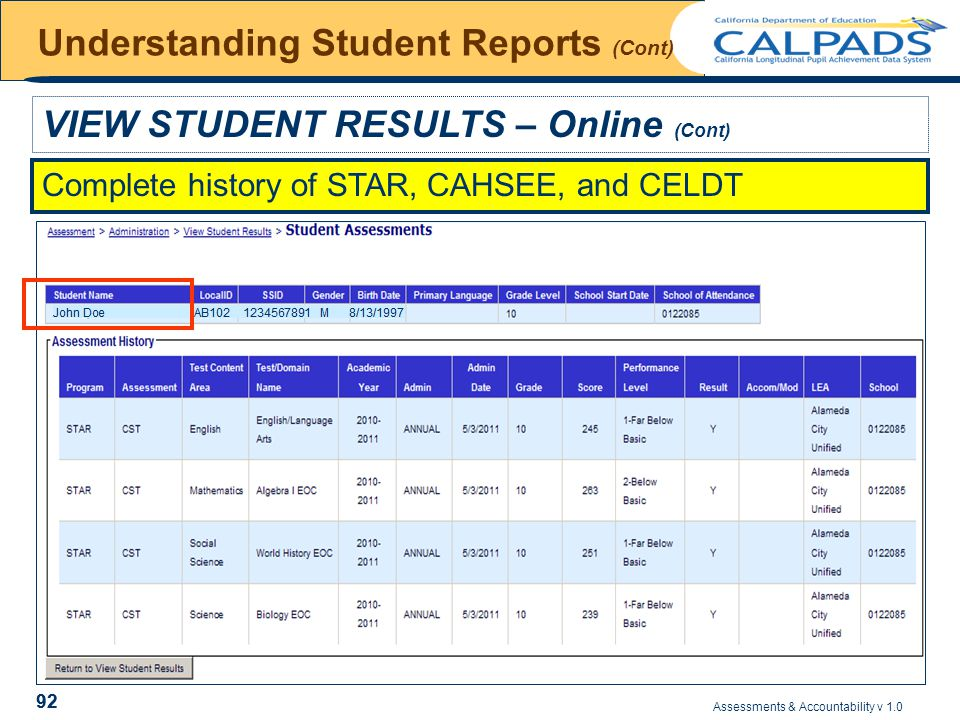 Assessments & Accountability v 1.0 92 Understanding Student Reports (Cont) VIEW STUDENT RESULTS – Online (Cont) Complete history of STAR, CAHSEE, and CELDT