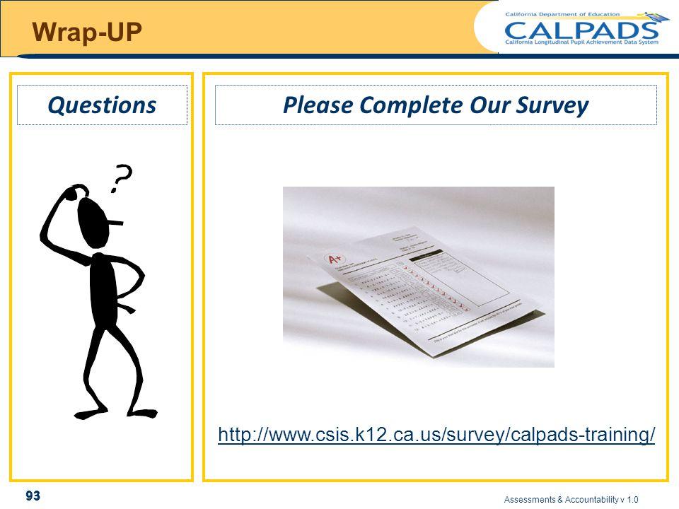 Assessments & Accountability v 1.0 93 Wrap-UP Please Complete Our Survey 93 Questions http://www.csis.k12.ca.us/survey/calpads-training/