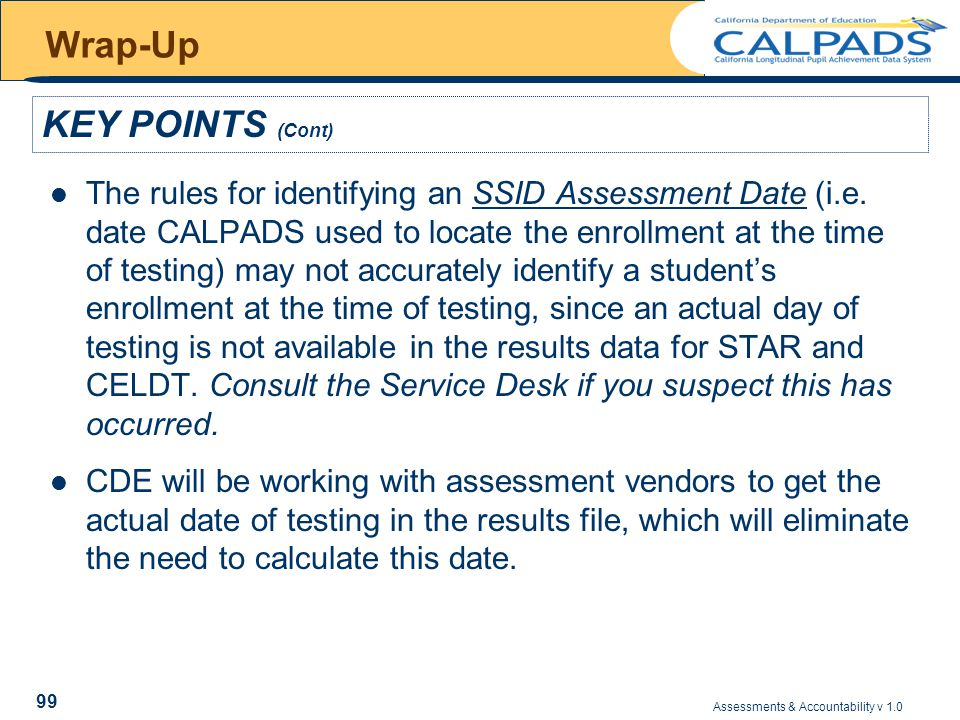 Assessments & Accountability v 1.0 99 Wrap-Up The rules for identifying an SSID Assessment Date (i.e.