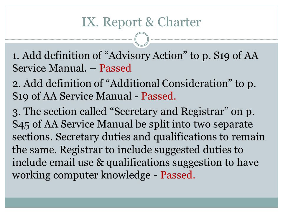 IX. Report & Charter 1. Add definition of Advisory Action to p.