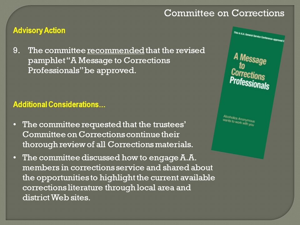 Committee on Corrections Advisory Action 9.The committee recommended that the revised pamphlet A Message to Corrections Professionals be approved.