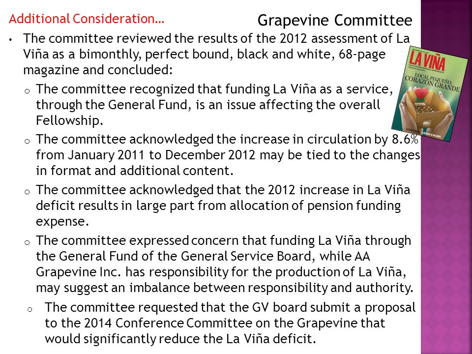 Additional Consideration… The committee reviewed the results of the 2012 assessment of La Viña as a bimonthly, perfect bound, black and white, 68-page magazine and concluded: o The committee recognized that funding La Viña as a service, through the General Fund, is an issue affecting the overall Fellowship.