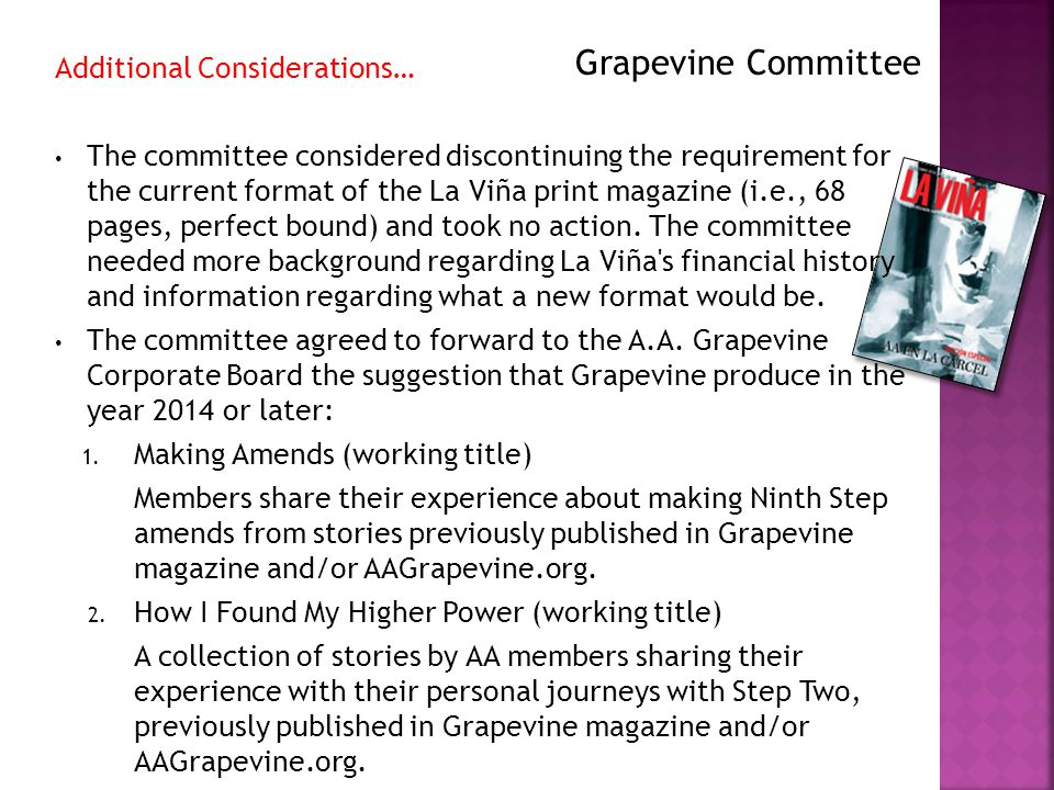 Additional Considerations… The committee considered discontinuing the requirement for the current format of the La Viña print magazine (i.e., 68 pages, perfect bound) and took no action.