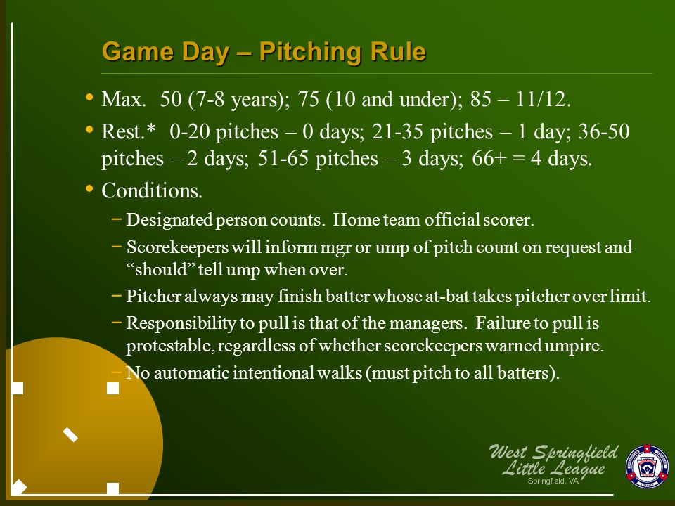 Game Day – Pitching Rule Max. 50 (7-8 years); 75 (10 and under); 85 – 11/12. Rest.* 0-20 pitches – 0 days; 21-35 pitches – 1 day; 36-50 pitches – 2 da