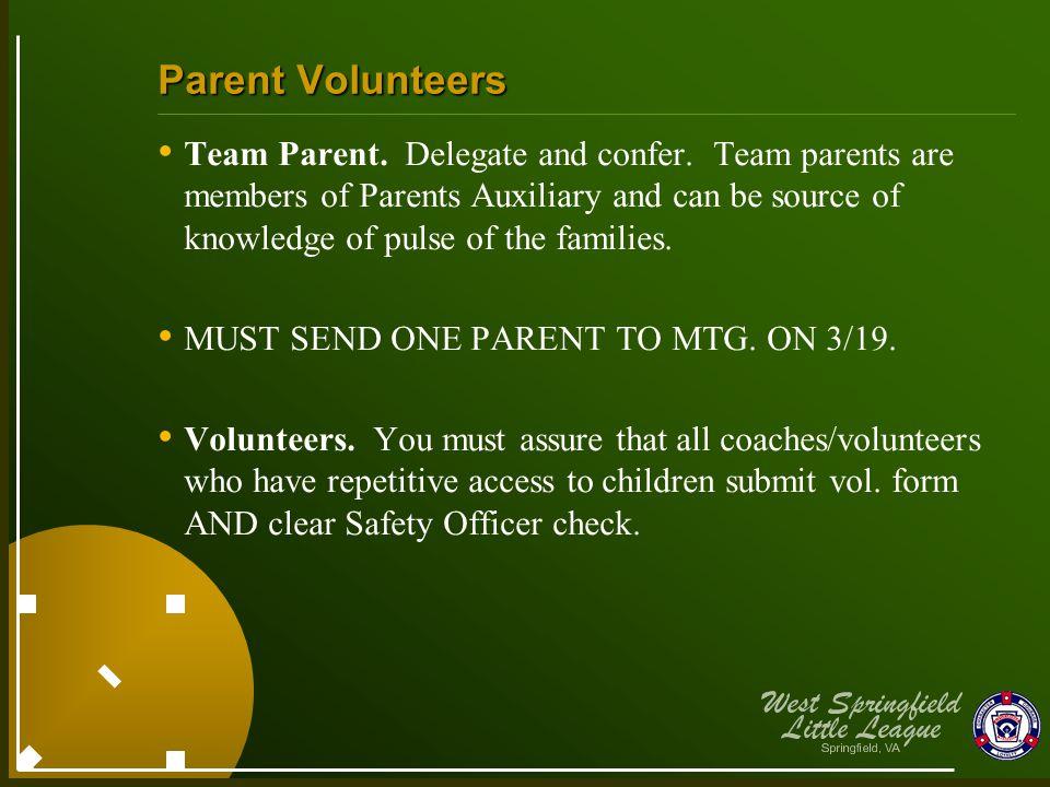 Parent Volunteers Team Parent. Delegate and confer.