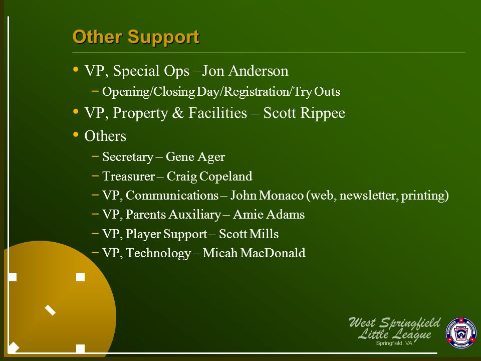 Other Support VP, Special Ops –Jon Anderson - Opening/Closing Day/Registration/Try Outs VP, Property & Facilities – Scott Rippee Others - Secretary –
