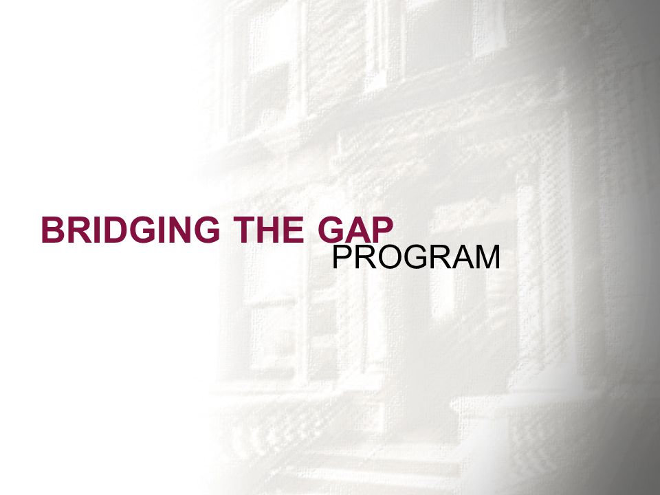 BRIDGING THE GAP PROGRAM