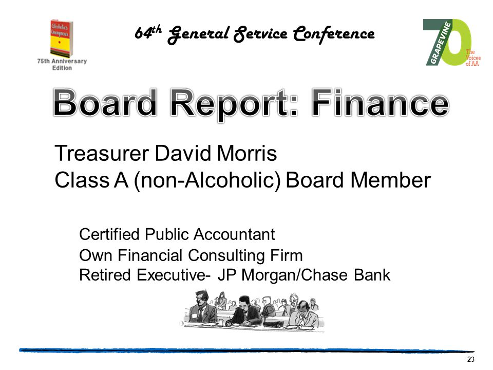 23 Treasurer David Morris Class A (non-Alcoholic) Board Member Certified Public Accountant Own Financial Consulting Firm Retired Executive- JP Morgan/Chase Bank 64 th General Service Conference