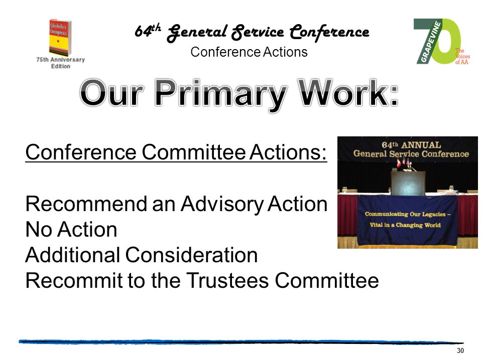 30 Conference Committee Actions: Recommend an Advisory Action No Action Additional Consideration Recommit to the Trustees Committee 64 th General Service Conference Conference Actions