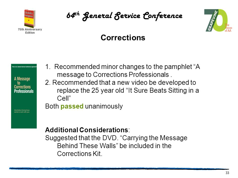 33 1. Recommended minor changes to the pamphlet A message to Corrections Professionals.