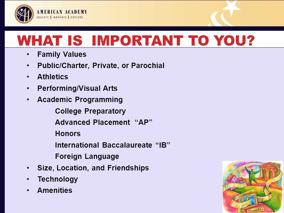 WHAT IS IMPORTANT TO YOU? Family Values Public/Charter, Private, or Parochial Athletics Performing/Visual Arts Academic Programming College Preparator
